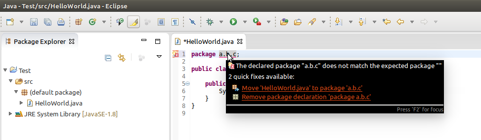 Eclipse error with package statement